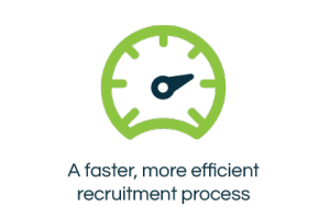 Faster recruitment process icon with text