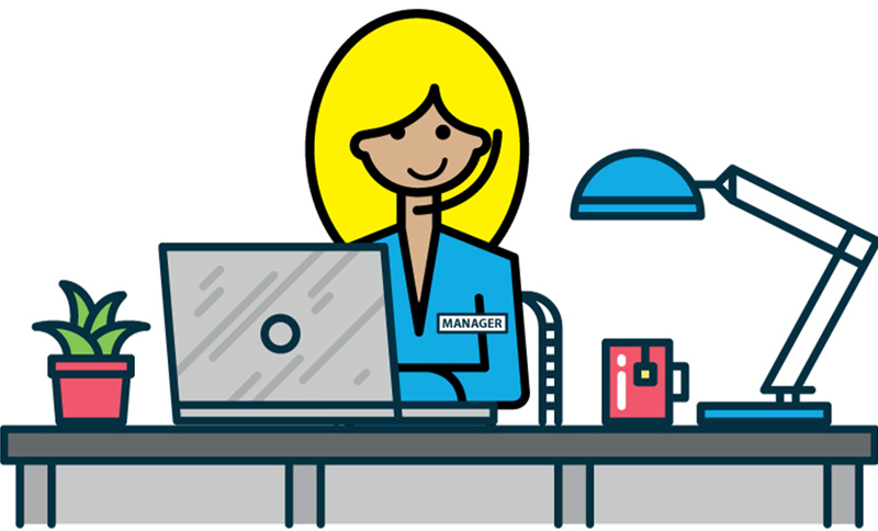 Working lady illustration