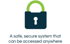 Secure system icon with text